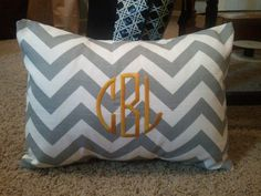 Monogrammed Gray & White Chevron Print Throw by tootledoodesigns - would be so cute on our couch!