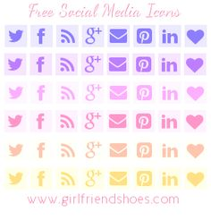 Pretty Free Social Media Icons | Girlfriends Are Like Shoes