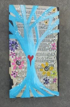 Tree of Life Music Original Outsider Raw Folk  Art Painting on reclaimed wood #Abstract