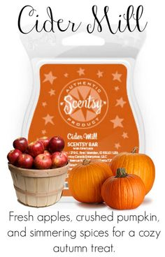 Scentsy Scent Cider Mill brings together fresh apples, crushed pumpkin, and simmering spices for a cozy autumn treat.