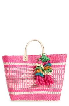 Mar y Sol 'Ibiza' Woven Tote with Tassel Charms