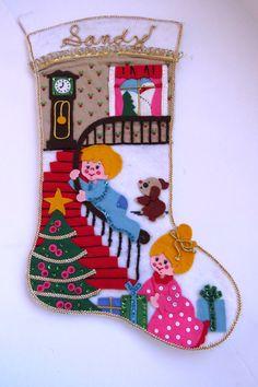 Vintage Felt Christmas Stocking - Completed Bucilla Handmade - Jumbo Christmas Morn - Boy Sliding on Staircase - Collectible Holiday Decor