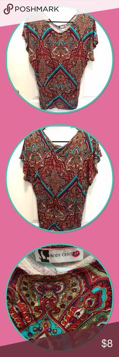 Women's Body Central blouse Multicolor paisley. Great condition Body Central Tops Blouses