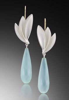 Bird of Paradise Aqua Chalcedony drops: Thea Izzi: Gold, Silver & Stone Earrings | Artful Home