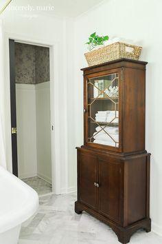 Our Elegant & Timeless Master Bathroom Reveal - Sincerely, Marie Designs furniture Bathroom Spa, Bathroom Shelves, Bathroom Flooring, Bathroom Furniture, Small Bathroom, Bathroom Ideas, Bathroom Cabinets, Remodel Bathroom, Bathroom Remodeling