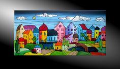 """moderne kunst kaufen malerei original gemälde acryl abstrakt bilder """"City Fantasies No 46"""" 120x60, zu kaufen auf ebay 189 €"""