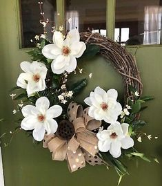 White Magnolia Floral Spring Grapevine Wreath for front Door or wall (spring wreaths magnolia) Front Door Decor, Wreaths For Front Door, Door Wreaths, Diy Wreath, Grapevine Wreath, White Wreath, Wreath Ideas, Magnolia Wreath, Magnolia Flower