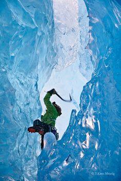 Climbing Mendenhall Glacier, Juneau, Alaska; photo by Kent Mearig