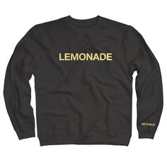 """Black Sweatshirt featuring a sleeve print & """"Lemonade"""" printed in Lemon chiffon.This item is currently on pre-order and will ship the week of May 9th 2016."""