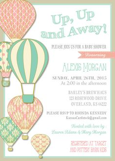Baby Shower HOT AIR BALLOON invitation Instant Download