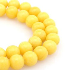 8mm Yellow Color Jade Stone Round Ball Gemstone by fikasupplies