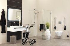 Rolstoel wastafel, ideaal om met uw rolator of rolstoel gemakkelijk onder de wastafel te komen. #Badkamerwinkel