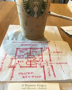 Make every minute count. In between meetings at Starbucks. FYI the pastry tissue is a perfect sketch paper. #wfuqua #wilsonfuquaarchitect #icaatexas #bathroom #closet