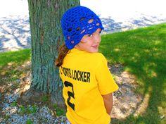 Blue Beanie Womens Crochet Hat Blue Skull Cap Teens by lanacooper, $26.00