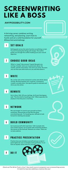 Screenwriting Like a Boss: Write, Network, and Create a Plan of Action! Click through the image to read the full post and get on The Write Track: A free 7-day email course to kickstart your screenwriting career in only 20 minutes of writing and networking a day. Screenwriters unite!
