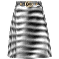 Gucci Embellished Wool-Blend Skirt (€675) ❤ liked on Polyvore featuring skirts, gucci, black, gucci skirt, embellished skirts and wool blend skirt