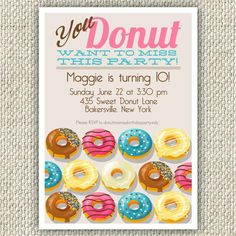 Donut Birthday Party Invitation Doughnut by TwinkleToePrintables Donut Birthday Parties, Donut Party, Birthday Fun, Birthday Party Invitations, Birthday Party Themes, Birthday Ideas, 11th Birthday, Baby Shower, Party Time
