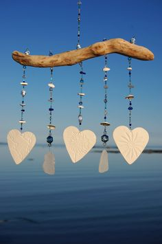 Porcelain Hearts Driftwood Sea Glass Blue Crystal Beach Wind Chime Sun Catcher by ZephyrChimes on Etsy