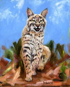 """""""Wildcat"""" by Diana Madaras. This painting was commissioned by the University of Arizona Alumni office to commemorate its Wildcat for Life program. The model is Wilma from the Tucson Wildlife Center. University Of Arizona, Southwest Art, Selling Art, Mirror Image, Tucson, Canvas Art Prints, Art Gallery, Wildlife, Artist"""