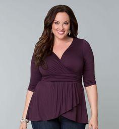 Plus Size Women's Clothing - Haven Faux Wrap Top - Kiyonna