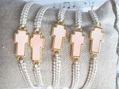 Pink sideways cross bracelet, Martirika, Baptism favors, Greek baptism, Witness pins, Christening favors, Communion favors, Orthodox baptism by Poppyg on Etsy https://www.etsy.com/listing/240052680/pink-sideways-cross-bracelet-martirika