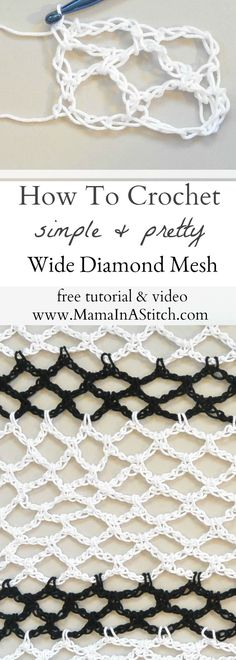 How To Crochet Diamond Mesh Stitch via @MamaInAStitch