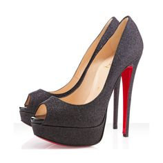 Christian Louboutin Lady Peep 150mm Glitter Pumps Black,Red Bottoms ($46) ❤ liked on Polyvore