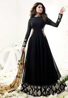 Anarkali Suits - Buy Indian Anarkali Suits with the latest designs and attractive offers online. Best collection of Partywear and festive wear Anarkali Dress for women. Black Anarkali, Anarkali Gown, Anarkali Suits, Lehenga, Abaya Fashion, Indian Fashion, Fashion Dresses, Fashion Women, Mode Abaya