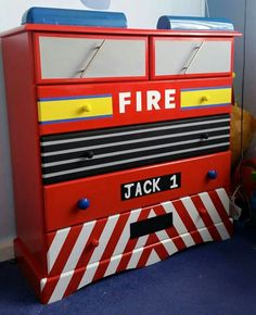 Fire Engine chest of drawers Fireman Room, Firefighter Bedroom, Firefighter Baby, Firefighter Decor, Volunteer Firefighter, Furniture Projects, Kids Furniture, Furniture Makeover, Fire Truck Bedroom