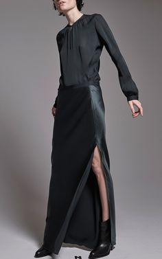 Nili Lotan Maya Pine Silk Maxi Skirt