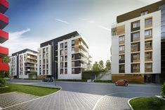 OSIEDLE INNOVA - Wrocław | galeria Social Housing Architecture, Facade Architecture, Residential Architecture, Small Buildings, Modern Buildings, Facade Design, Exterior Design, Residential Complex, Chinese Architecture
