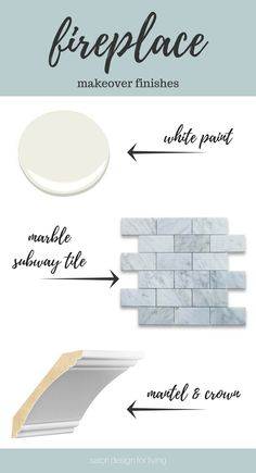 White and Marble Fireplace Makeover Details - White Dove Paint, Marble Subway Tile, Interior Finishings from Metrie Fireplace Trim, Fireplace Tile Surround, Brick Fireplace Makeover, White Fireplace, Fireplace Remodel, Fireplace Surrounds, Fireplace Mantels, Fireplace Ideas, Reface Fireplace