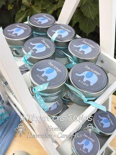 Μπομπονιέρες βάπτισης βαζάκια με ελεφαντάκι Tea Lights, Candles, Blog, Decor, Drawings, Decoration, Tea Light Candles, Candy, Blogging