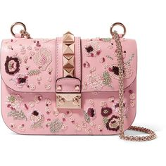 Valentino Lock medium embellished leather shoulder bag (€2.410) ❤ liked on Polyvore featuring bags, handbags, shoulder bags, pink, pink leather handbags, leather shoulder bag, red leather handbags, pink handbags and leather handbags