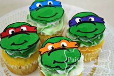 Ninja Turtle Cupcakes with Fondant Toppers. Made by Paisley Cakes, Blackfoot Idaho.