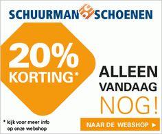 Nu bij Schuurman Schoenen: Schuurman Schoenen korting tot 20%. Vandaag is de laatste dag van de 20% dagen bij Schuurman Schoenen! Wacht niet tot het te laat