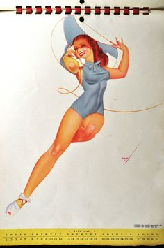 Pin Up Girl Calendar Page Petty Pin Up Girl July by FineRedefined,on etsy