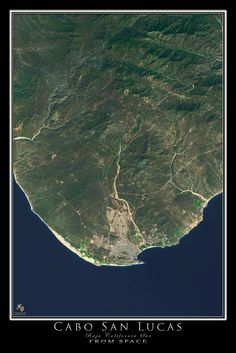 Cabo San Lucas Mexico From Space Satellite Art Poster