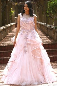 Baby Pink Net Applique Embroidered Evening Gown-GW677 Evening Gowns Online, Ball Gowns Evening, Sarees For Girls, Net Gowns, Reception Gown, New Designer Dresses, Lehnga Dress, Gowns Of Elegance, Couture Dresses
