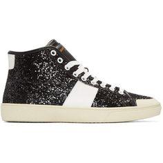 Black Glittered SL/37 Court Classic Sneakers Saint Laurent Sneakers