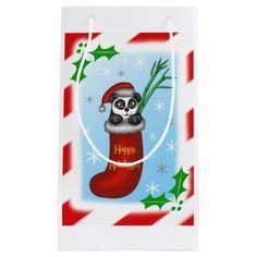 Christmas Panda Small Gift Bag #panda #bamboo #christmas #animals #holidays