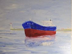 """Ship at sea, lighthouse, painting canvas, 40x30 cm (15.7 x 11.8""""). Title: """"Saturday again"""""""