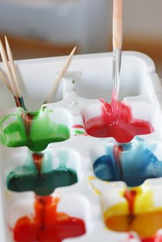 homemade paint: condensed milk + food coloring