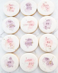 These beautiful watercolour cookies are for a workshop next week for empowering teen girls run by 💕 The script… Paint Cookies, Fondant Cookies, Iced Cookies, Biscuit Cookies, Pumpkin Cookies, Royal Icing Cookies, Cupcake Cookies, Kawaii Cookies, Cute Cookies