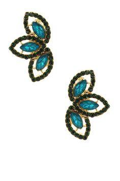 Leaf Trio Crystal Stud Earrings by Sparkling Sage on @HauteLook