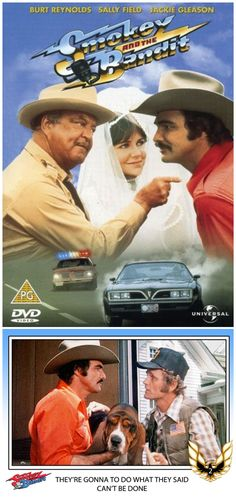 Smokey and The Bandit ~ Starring Burt Reynolds, Sally Field, Jerry Reed, Jackie Gleason and more! I can see why it was a popular movie. Great Films, Good Movies, Awesome Movies, Route 66, Tampa Theatre, Jerry Reed, Jackie Gleason, Smokey And The Bandit, Burt Reynolds