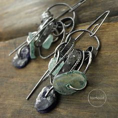 reservation for Karen - Earrings - raw sterling silver and ancient glass , roman glass