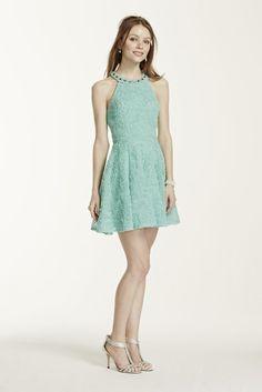 Beaded Halter Soutache Short Dress