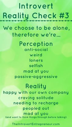"#‎Introvert‬ Reality Check #3: ""We choose to be alone, therefore we're..."""
