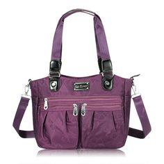 Flower Pattern Nylon Waterproof Handbags Ladies Casual Shoulder Bags Crossbody Bags